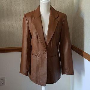 Leather blazer jacket size small by Denim & Co.